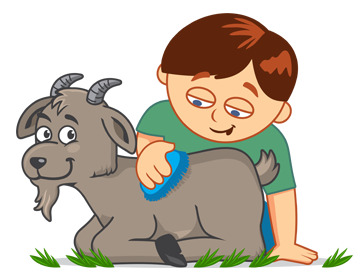 Image result for cartoon images of boy trying to pull a stubborn goat